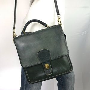 COACH Vintage Green Leather Station Crossbody